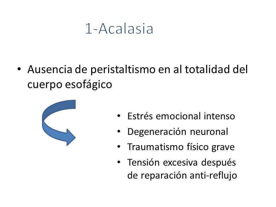 Ausencia de peristaltismo en al totalidad del cuerpo esofágico Estrés emocional intenso Degeneración neuronal Traumatismo físico grave Tensión excesiv
