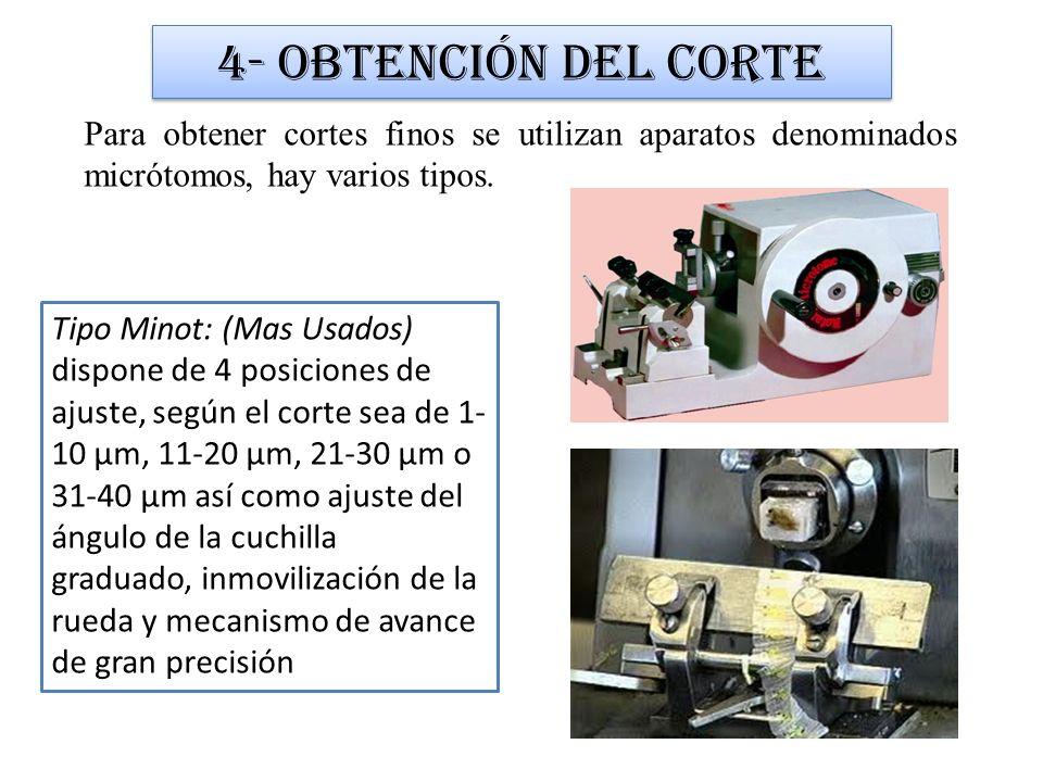 Para obtener cortes finos se utilizan aparatos denominados micrótomos, hay varios tipos. 4- Obtención del corte Tipo Minot: (Mas Usados) dispone de 4
