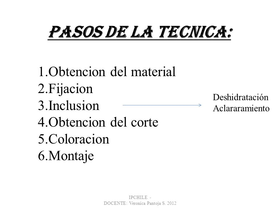 IPCHILE - DOCENTE: Veronica Pantoja S. 2012 PASOS DE LA TECNICA: 1.Obtencion del material 2.Fijacion 3.Inclusion 4.Obtencion del corte 5.Coloracion 6.