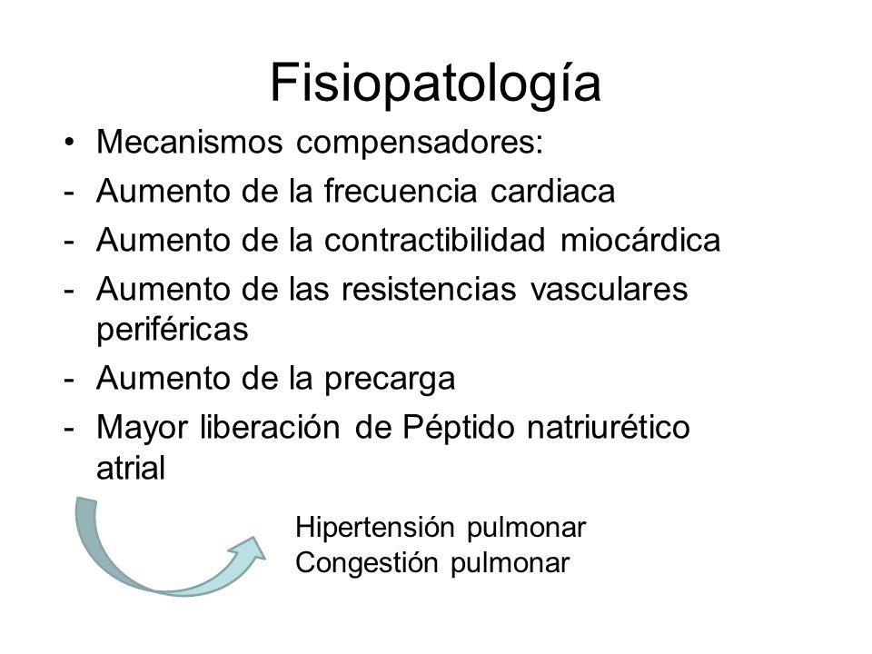 Fisiopatología Mecanismos compensadores: -Aumento de la frecuencia cardiaca -Aumento de la contractibilidad miocárdica -Aumento de las resistencias va