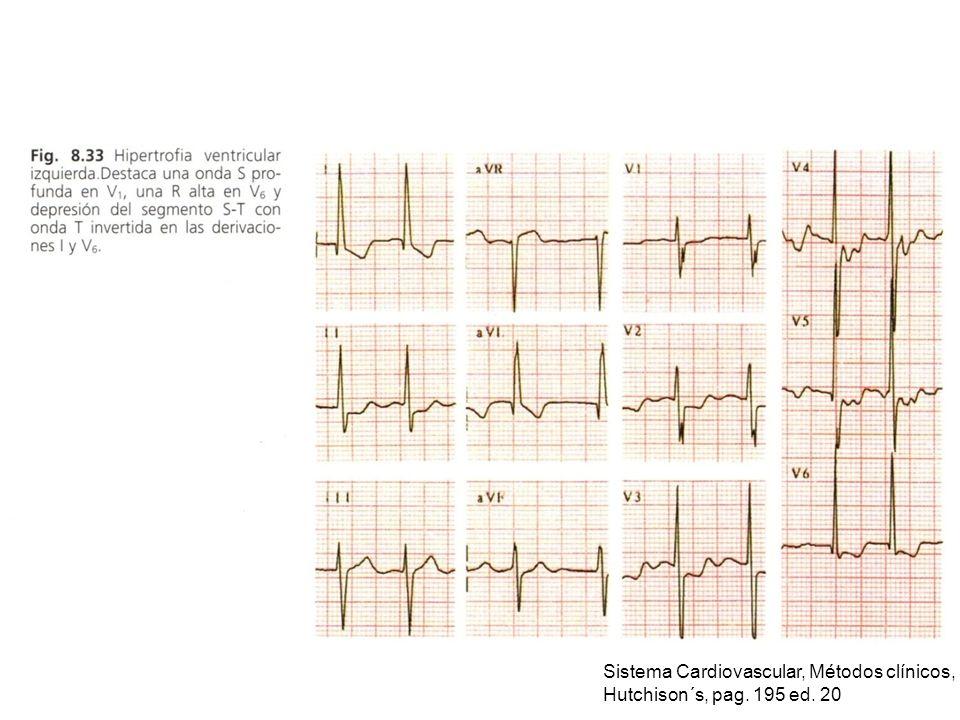 Sistema Cardiovascular, Métodos clínicos, Hutchison´s, pag. 195 ed. 20
