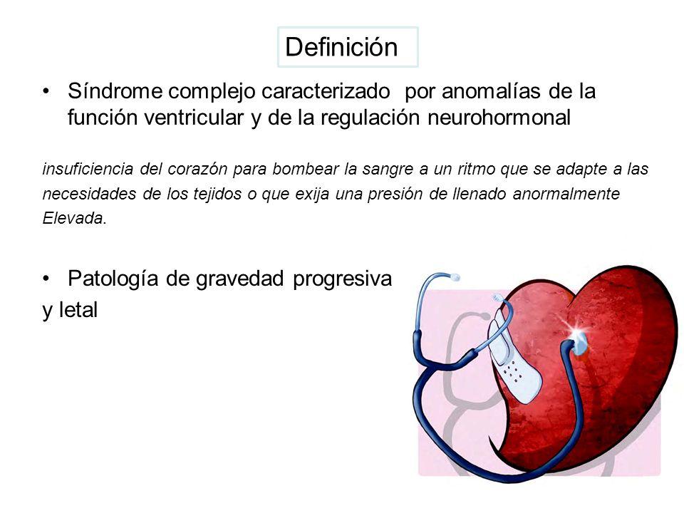 Síndrome complejo caracterizado por anomalías de la función ventricular y de la regulación neurohormonal insuficiencia del corazón para bombear la san