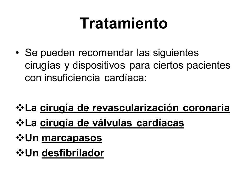 Tratamiento Se pueden recomendar las siguientes cirugías y dispositivos para ciertos pacientes con insuficiencia cardíaca: La cirugía de revasculariza