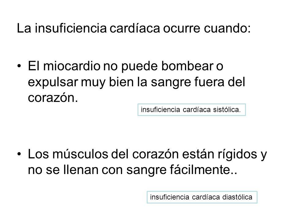 La insuficiencia cardíaca ocurre cuando: El miocardio no puede bombear o expulsar muy bien la sangre fuera del corazón. Los músculos del corazón están