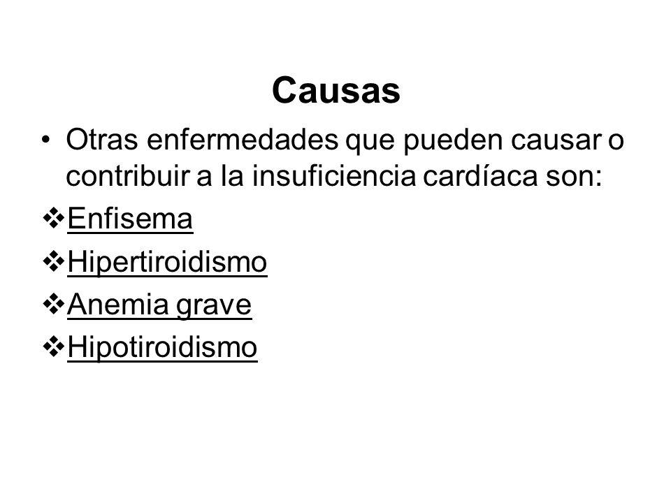 Causas Otras enfermedades que pueden causar o contribuir a la insuficiencia cardíaca son: Enfisema Hipertiroidismo Anemia grave Hipotiroidismo