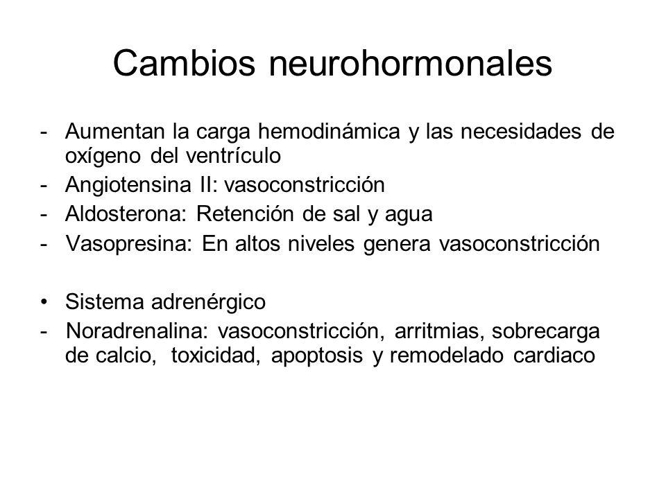 -Aumentan la carga hemodinámica y las necesidades de oxígeno del ventrículo -Angiotensina II: vasoconstricción -Aldosterona: Retención de sal y agua -
