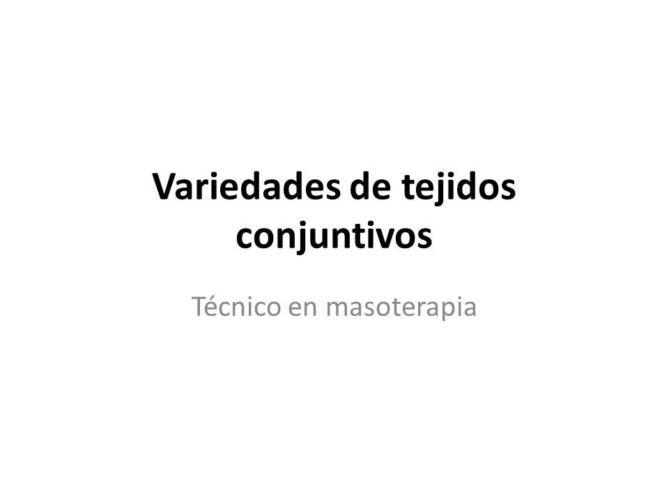Variedades de tejidos conjuntivos Técnico en masoterapia