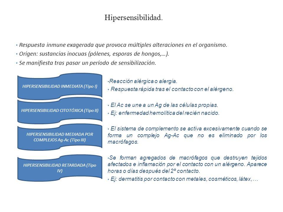 Hipersensibilidad. Respuesta inmune exagerada que provoca múltiples alteraciones en el organismo. Origen: sustancias inocuas (pólenes, esporas de hong