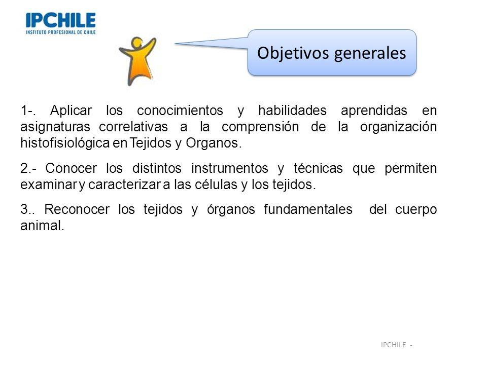 Objetivos generales IPCHILE -.-. Aplicar los conocimientos y habilidades aprendidas en asignaturas correlativas a la comprensión de la organización hi