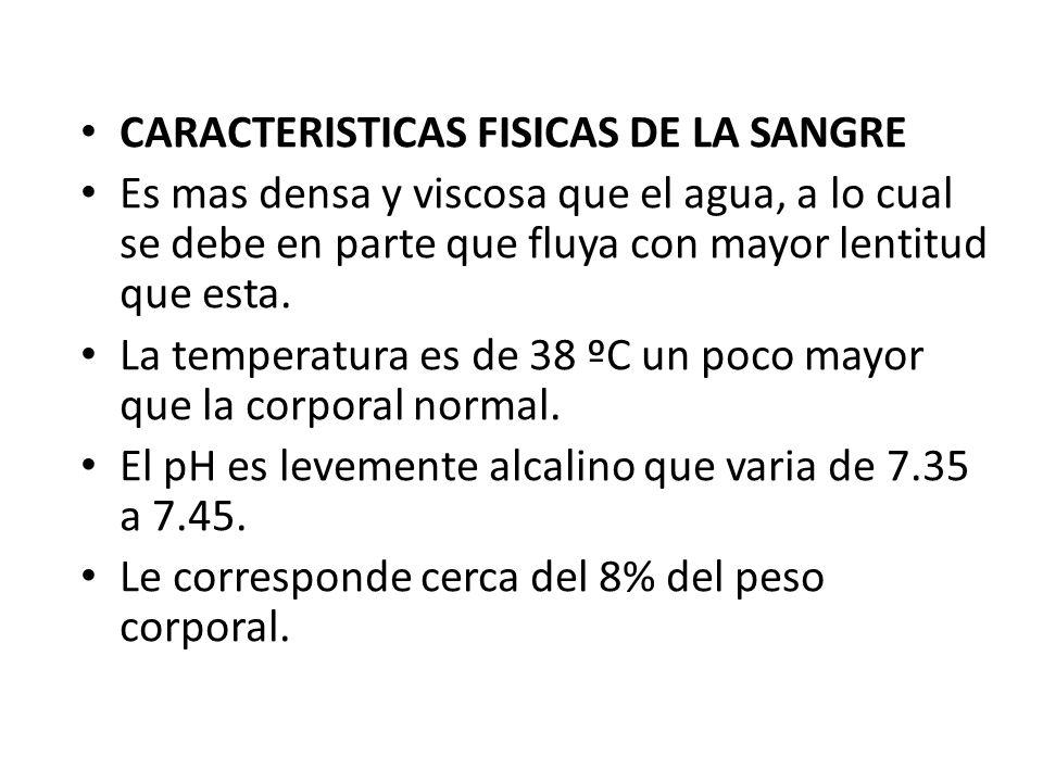CARACTERISTICAS FISICAS DE LA SANGRE Es mas densa y viscosa que el agua, a lo cual se debe en parte que fluya con mayor lentitud que esta. La temperat