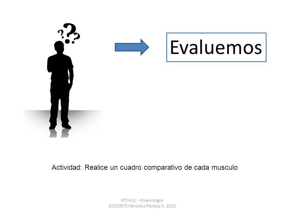 Evaluemos IPCHILE - Kinesiologia DOCENTE:Veronica Pantoja S. 2013 Actividad: Realice un cuadro comparativo de cada musculo