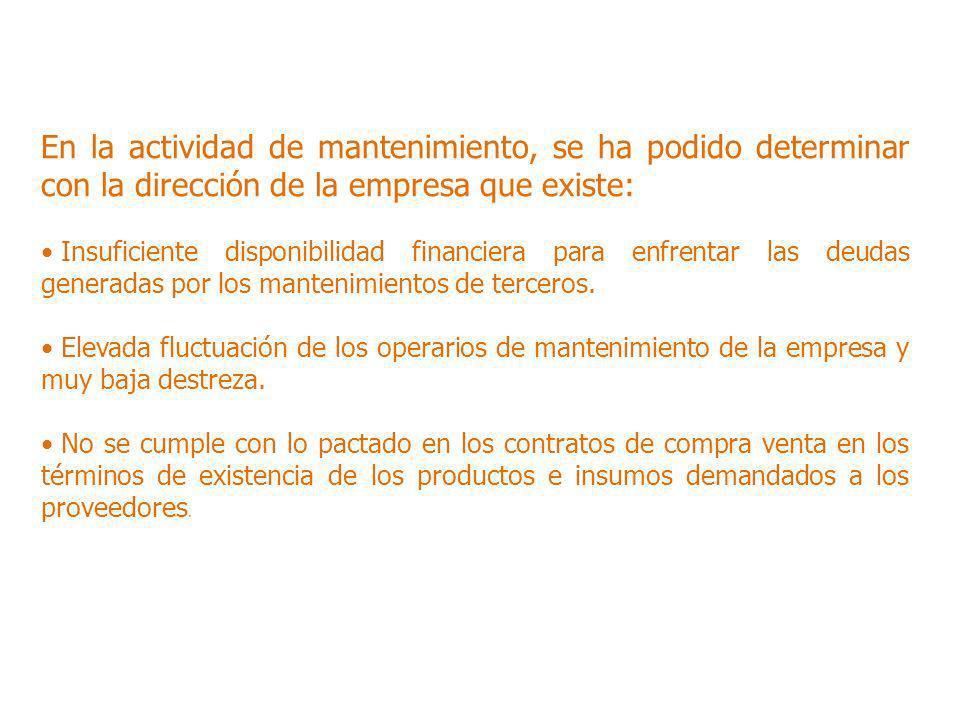 En la actividad de mantenimiento, se ha podido determinar con la dirección de la empresa que existe: Insuficiente disponibilidad financiera para enfre