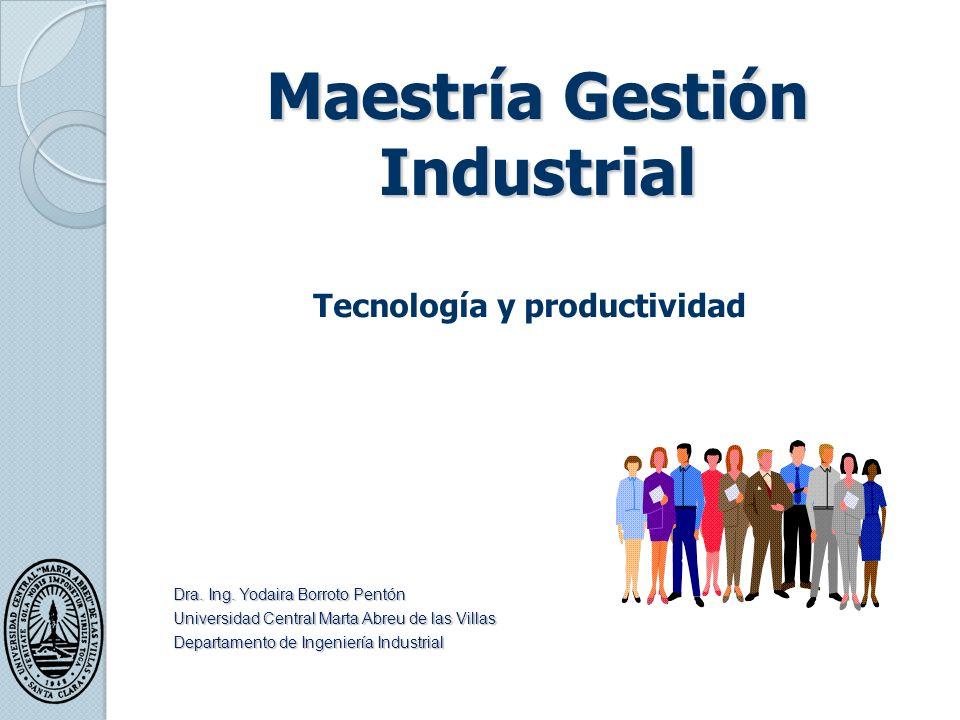 Maestría Gestión Industrial Tecnología y productividad Dra.