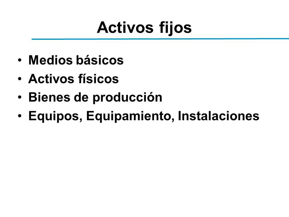 Activos fijos Medios básicos Activos físicos Bienes de producción Equipos, Equipamiento, Instalaciones