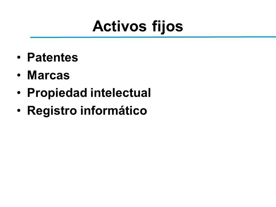 Activos fijos Patentes Marcas Propiedad intelectual Registro informático