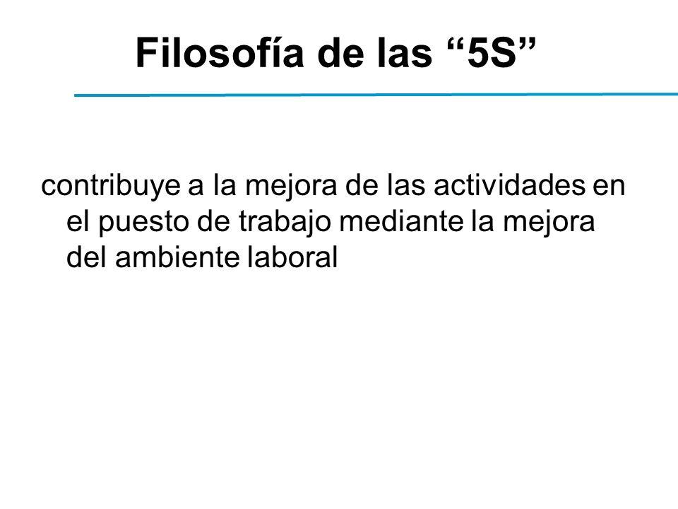 contribuye a la mejora de las actividades en el puesto de trabajo mediante la mejora del ambiente laboral Filosofía de las 5S