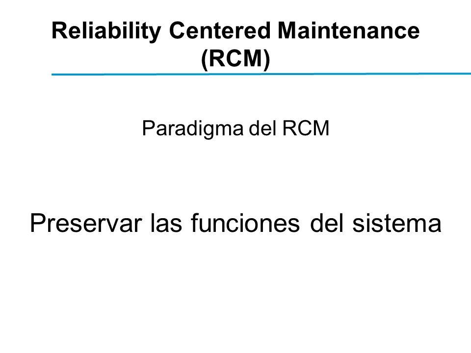 Reliability Centered Maintenance (RCM) Paradigma del RCM Preservar las funciones del sistema