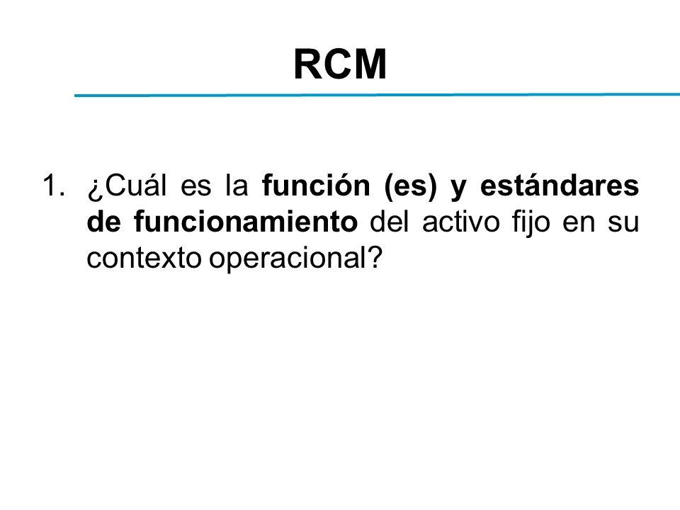 RCM 1.¿Cuál es la función (es) y estándares de funcionamiento del activo fijo en su contexto operacional?