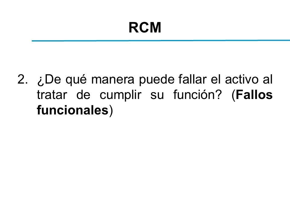 RCM 2.¿De qué manera puede fallar el activo al tratar de cumplir su función? (Fallos funcionales)