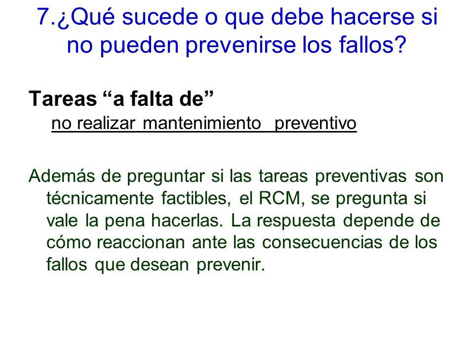 7.¿Qué sucede o que debe hacerse si no pueden prevenirse los fallos.