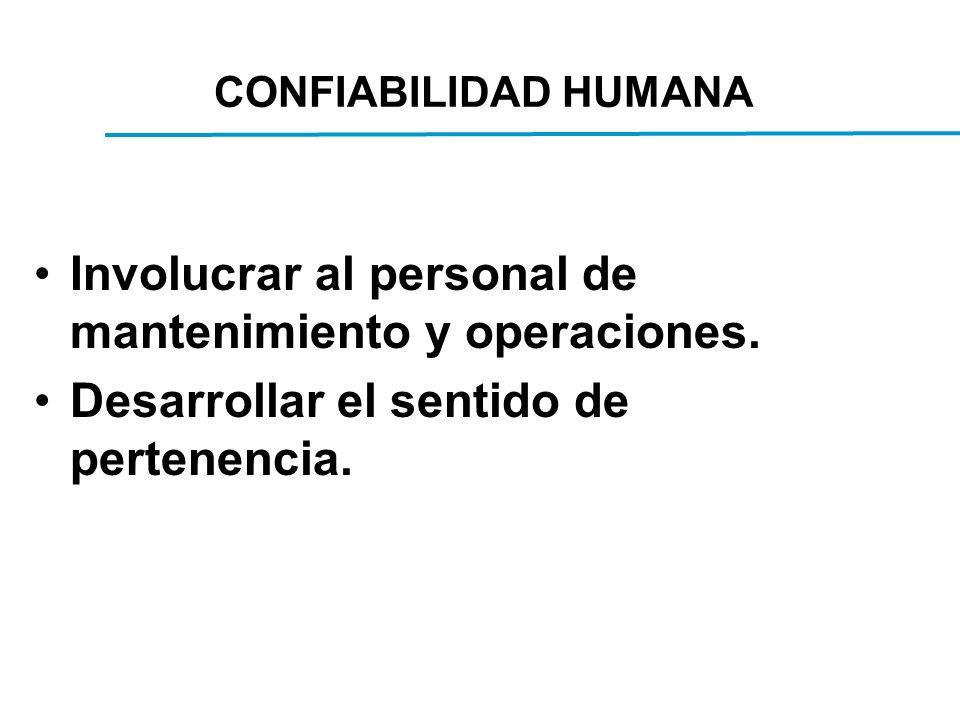 CONFIABILIDAD HUMANA Involucrar al personal de mantenimiento y operaciones.