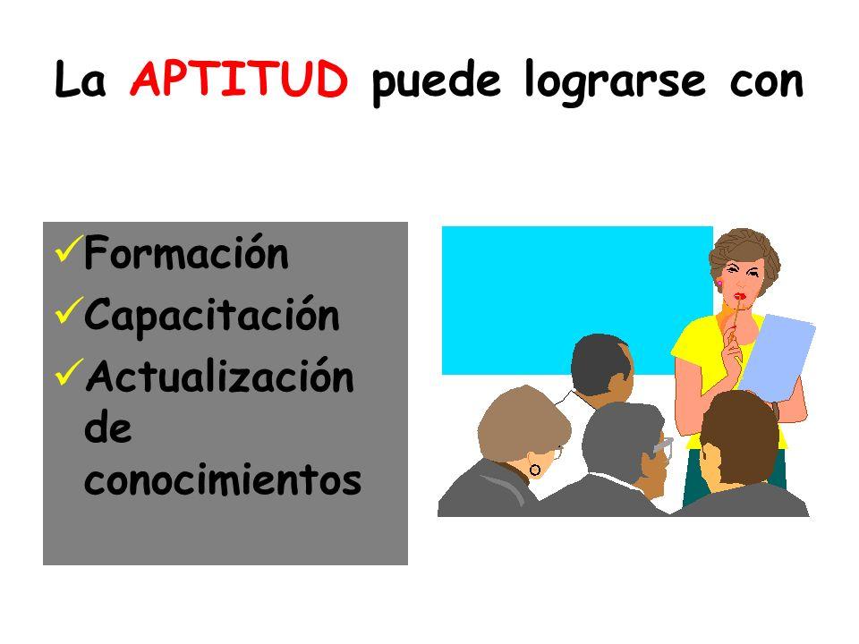 La APTITUD puede lograrse con Formación Capacitación Actualización de conocimientos