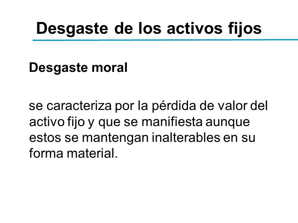Desgaste de los activos fijos Desgaste moral se caracteriza por la pérdida de valor del activo fijo y que se manifiesta aunque estos se mantengan inalterables en su forma material.