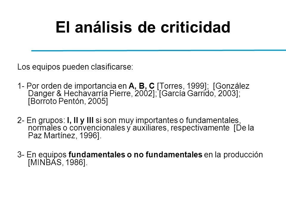 El análisis de criticidad Los equipos pueden clasificarse: 1- Por orden de importancia en A, B, C [Torres, 1999]; [González Danger & Hechavarría Pierre, 2002]; [García Garrido, 2003]; [Borroto Pentón, 2005] 2- En grupos: I, II y III si son muy importantes o fundamentales, normales o convencionales y auxiliares, respectivamente [De la Paz Martínez, 1996].