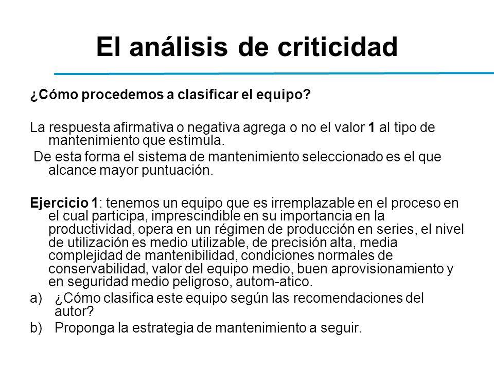 El análisis de criticidad ¿Cómo procedemos a clasificar el equipo.