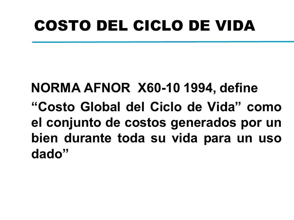 COSTO DEL CICLO DE VIDA NORMA AFNOR X60-10 1994, define Costo Global del Ciclo de Vida como el conjunto de costos generados por un bien durante toda su vida para un uso dado