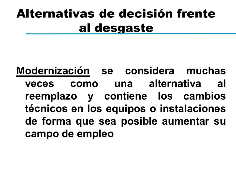 Alternativas de decisión frente al desgaste Modernización se considera muchas veces como una alternativa al reemplazo y contiene los cambios técnicos en los equipos o instalaciones de forma que sea posible aumentar su campo de empleo