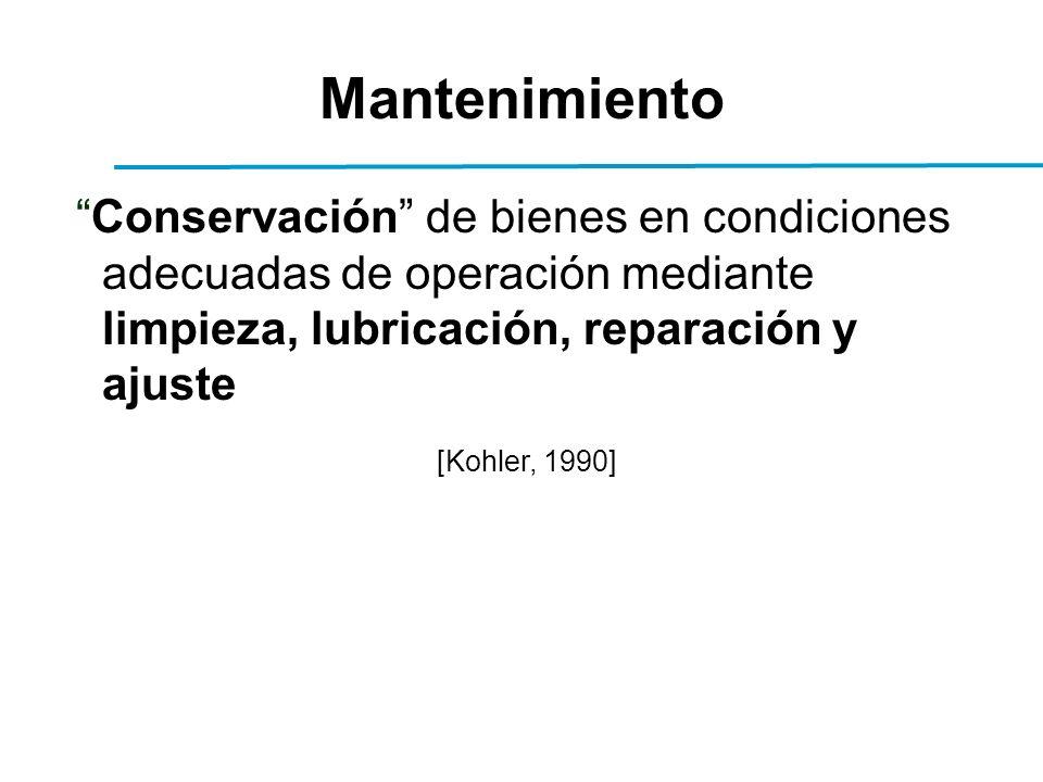 Mantenimiento Conservación de bienes en condiciones adecuadas de operación mediante limpieza, lubricación, reparación y ajuste [Kohler, 1990]