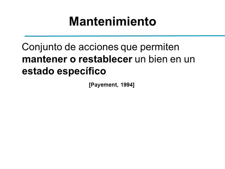 Mantenimiento Conjunto de acciones que permiten mantener o restablecer un bien en un estado específico [Payement, 1994]