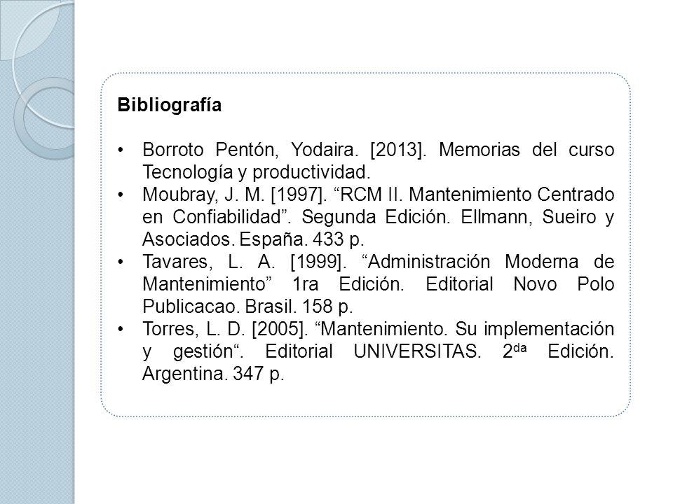 Bibliografía Borroto Pentón, Yodaira. [2013]. Memorias del curso Tecnología y productividad.
