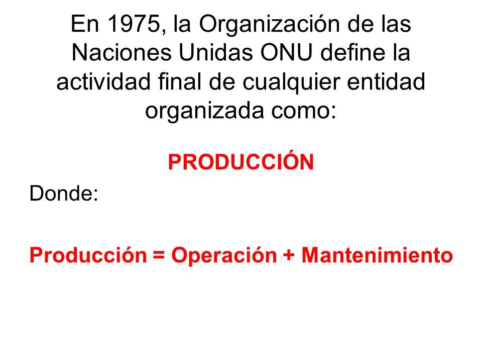 En 1975, la Organización de las Naciones Unidas ONU define la actividad final de cualquier entidad organizada como: PRODUCCIÓN Donde: Producción = Operación + Mantenimiento