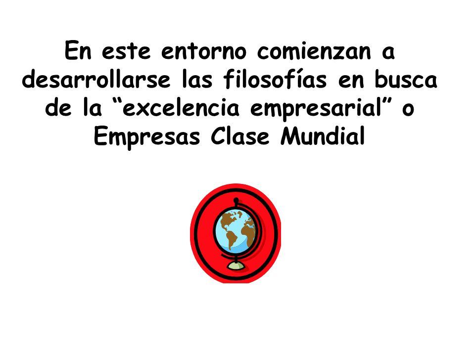 En este entorno comienzan a desarrollarse las filosofías en busca de la excelencia empresarial o Empresas Clase Mundial