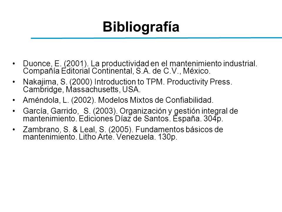 Bibliografía Duonce, E. (2001). La productividad en el mantenimiento industrial.