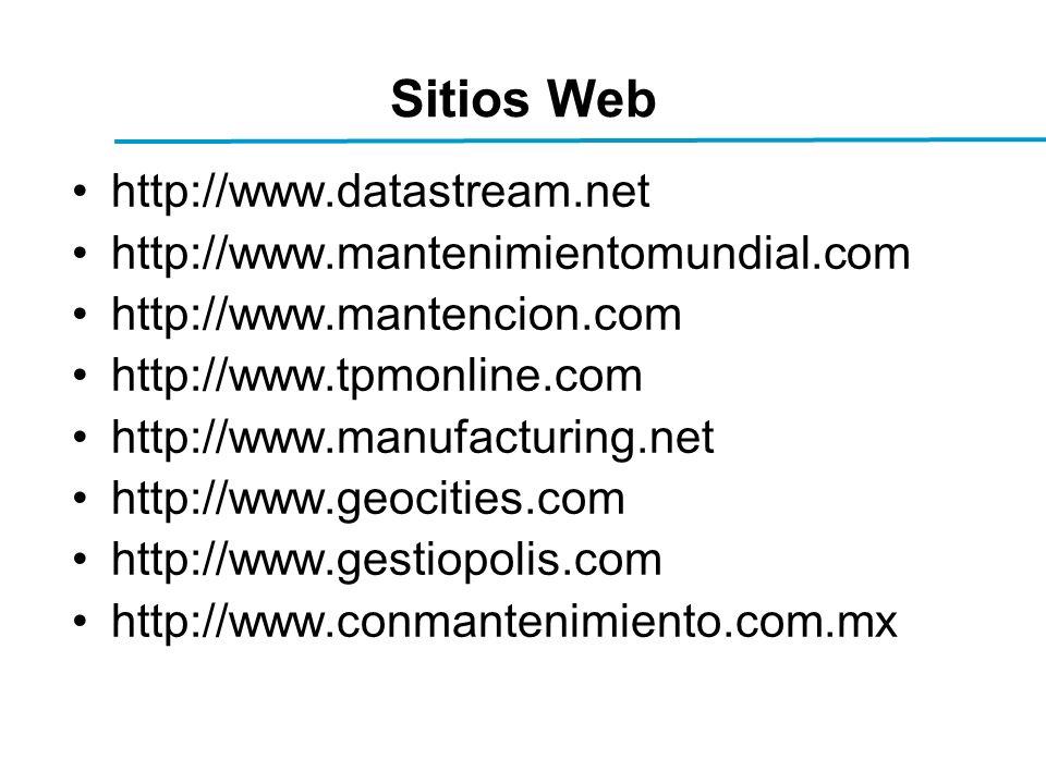 Sitios Web http://www.datastream.net http://www.mantenimientomundial.com http://www.mantencion.com http://www.tpmonline.com http://www.manufacturing.net http://www.geocities.com http://www.gestiopolis.com http://www.conmantenimiento.com.mx