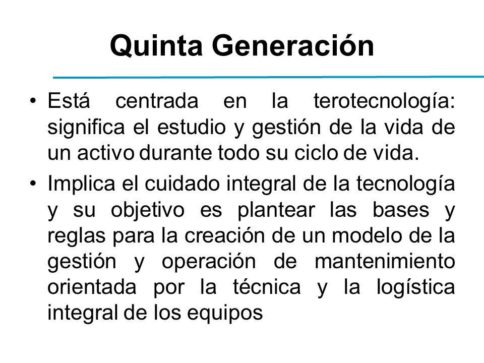 Quinta Generación Está centrada en la terotecnología: significa el estudio y gestión de la vida de un activo durante todo su ciclo de vida.