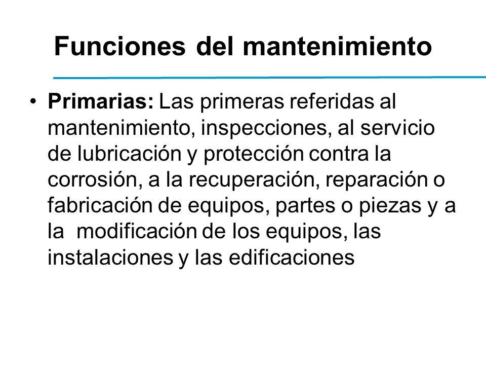 Funciones del mantenimiento Primarias: Las primeras referidas al mantenimiento, inspecciones, al servicio de lubricación y protección contra la corrosión, a la recuperación, reparación o fabricación de equipos, partes o piezas y a la modificación de los equipos, las instalaciones y las edificaciones