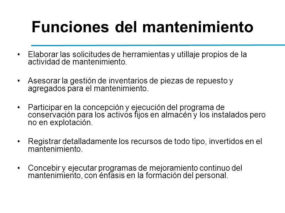 Funciones del mantenimiento Elaborar las solicitudes de herramientas y utillaje propios de la actividad de mantenimiento.