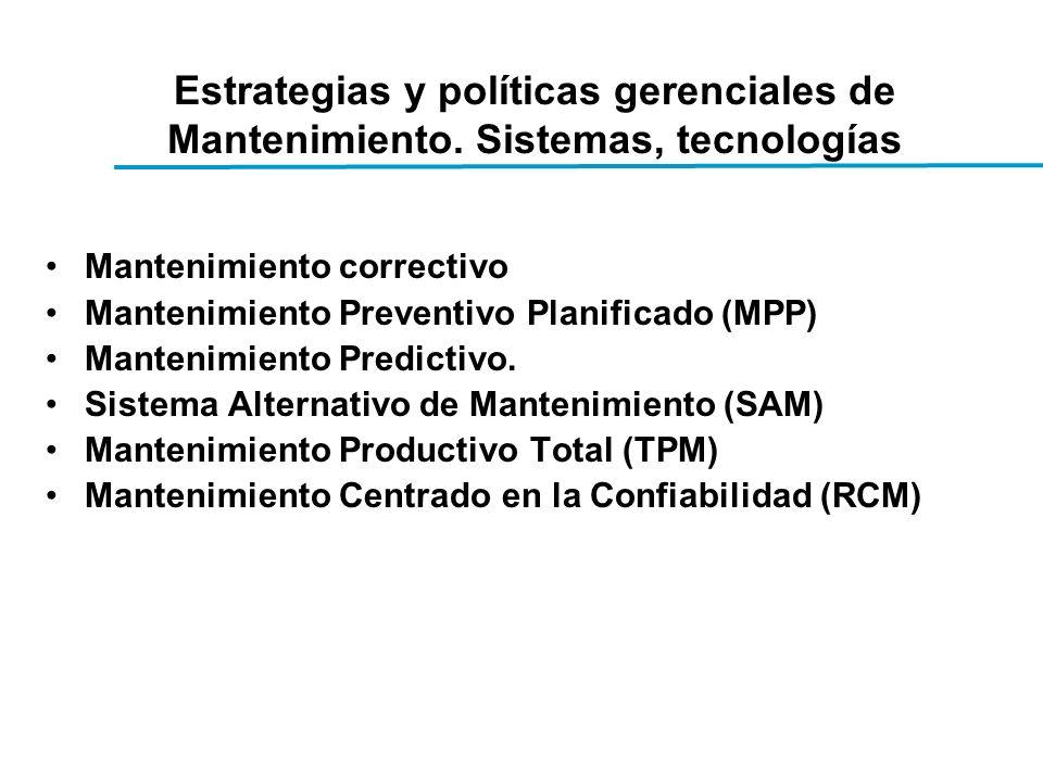 Estrategias y políticas gerenciales de Mantenimiento.