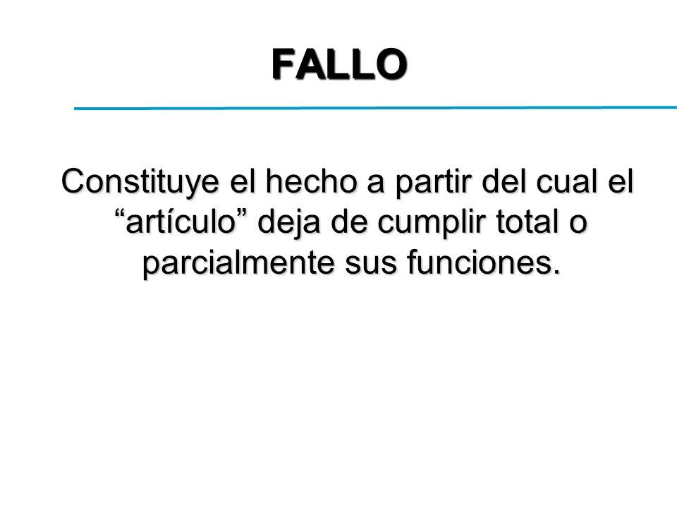 FALLO Constituye el hecho a partir del cual el artículo deja de cumplir total o parcialmente sus funciones.