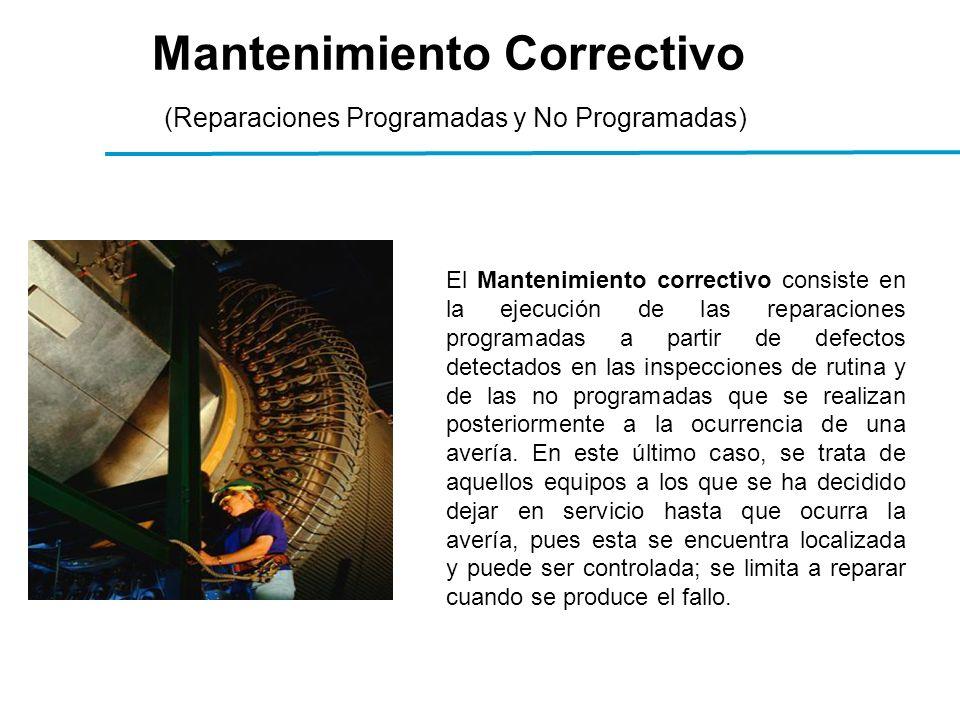 Mantenimiento Correctivo (Reparaciones Programadas y No Programadas) El Mantenimiento correctivo consiste en la ejecución de las reparaciones programadas a partir de defectos detectados en las inspecciones de rutina y de las no programadas que se realizan posteriormente a la ocurrencia de una avería.
