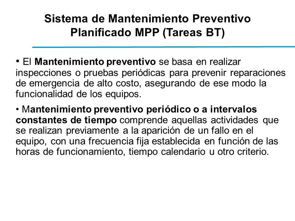 Sistema de Mantenimiento Preventivo Planificado MPP (Tareas BT) El Mantenimiento preventivo se basa en realizar inspecciones o pruebas periódicas para prevenir reparaciones de emergencia de alto costo, asegurando de ese modo la funcionalidad de los equipos.