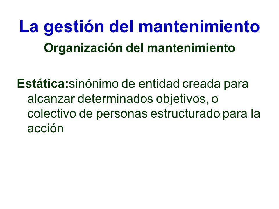 La gestión del mantenimiento Organización del mantenimiento Estática:sinónimo de entidad creada para alcanzar determinados objetivos, o colectivo de p
