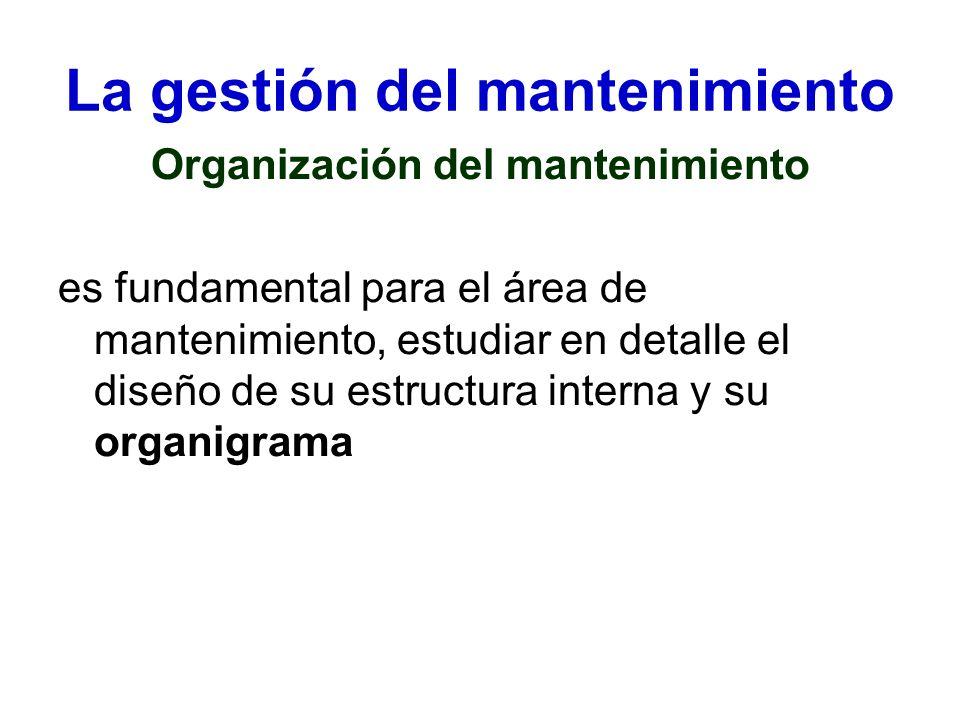 La gestión del mantenimiento Organización del mantenimiento es fundamental para el área de mantenimiento, estudiar en detalle el diseño de su estructu