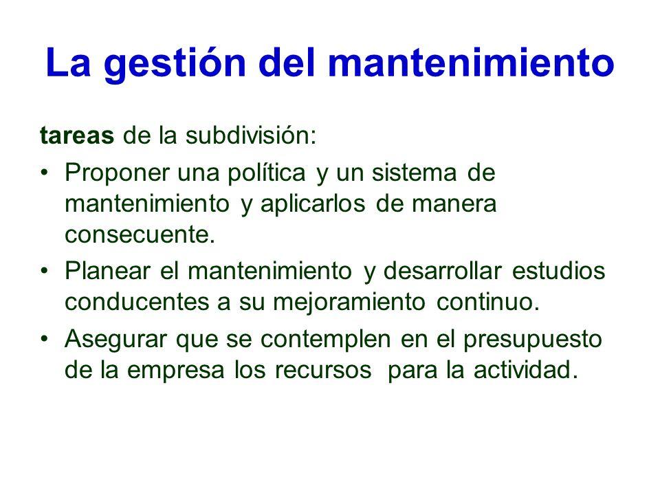 La gestión del mantenimiento tareas de la subdivisión: Proponer una política y un sistema de mantenimiento y aplicarlos de manera consecuente. Planear