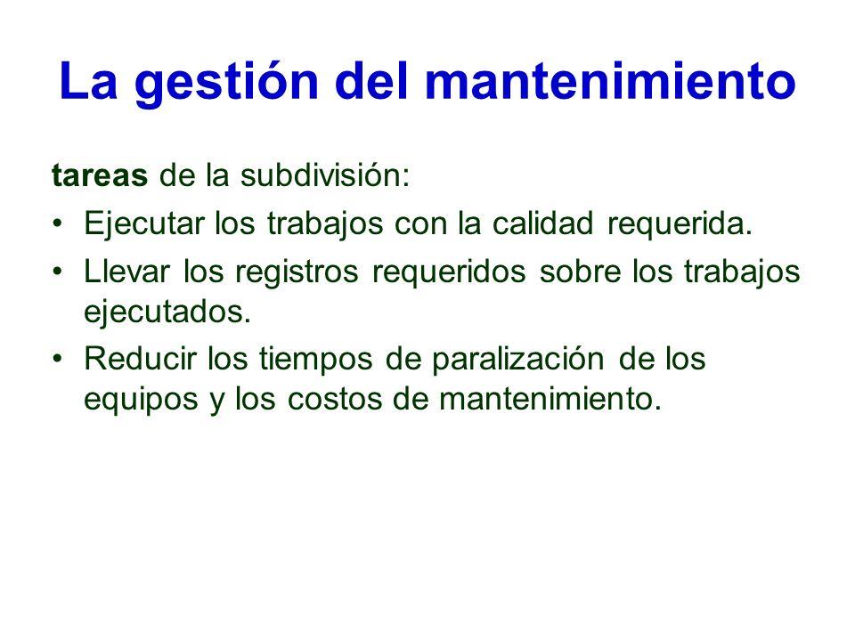 La gestión del mantenimiento tareas de la subdivisión: Ejecutar los trabajos con la calidad requerida. Llevar los registros requeridos sobre los traba