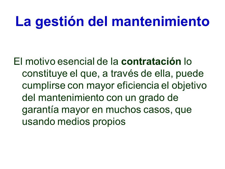 La gestión del mantenimiento El motivo esencial de la contratación lo constituye el que, a través de ella, puede cumplirse con mayor eficiencia el obj